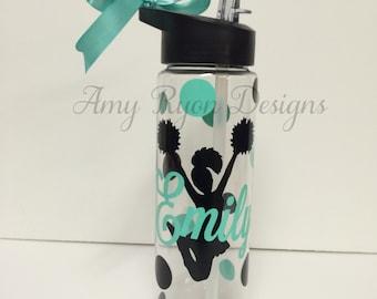 Cheerleader Tritan Water Bottle, Personalized Cheerleader Water Bottle, Custom Cheerleader Water Bottle, Personalized Cheerleader Gift