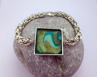 Green and Silver Byzantine Bracelet