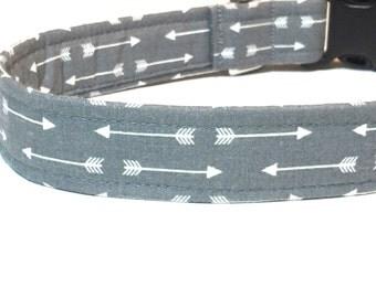 Grey Arrow Dog Collar ~ Boy Dog Collar ~ Matching Leash Available