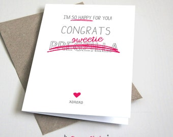 Congrats Pregzilla CARD / Congratulations / Baby / Pregnancy / Pink and Grey / 5x7 Folded Card – Printable DIY, Instant Download