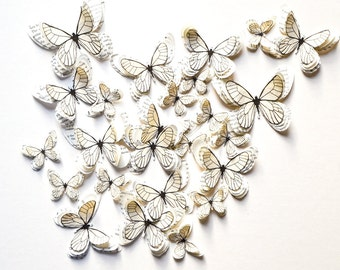 3D white paper butterflies, butterfly wall decoration, butterfly party, butterfly decals, birthday butterfly, butterfly home decoration