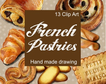 Digital Clip art French Pastries French pastry