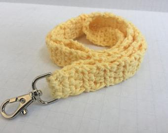Yellow Cotton Crochet Lanyard, Crochet Lanyard, Handmade Cotton Lanyard, Gift for Her, Teacher Gift, ID Holder, Keys, Crochet Key Holder