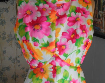 Groovy Cool 1960's-70's Brightly Flower Colored Maxi Dress