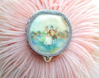 Cute Little 1940's Powder Puff/Mirror with French Couple