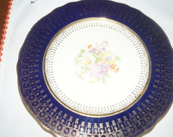 Vintage Steubenville Gold and Purple Hand painted Plate