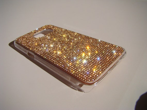 Galaxy S7 Rose Gold Crystals on Transparent Case. Velvet/Silk Pouch Bag Included, Genuine Rangsee Crystal Cases.
