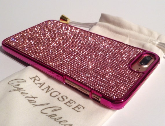 iPhone 7 Plus Case Pink Diamond Rhinestone Crystals on Pink Chrome Case. Velvet Pouch Included, Genuine Rangsee Crystal Cases