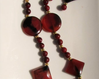 Carnelian/Onyx/Red Jasper Gemstone Necklace & Earrings