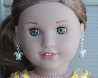 Silver Sea Turtle Earrings for American Girl Lea Clark and other 18 inch dolls
