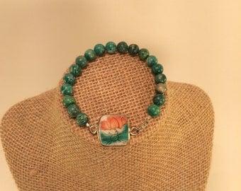 Pottery Shard Pendant Bracelet
