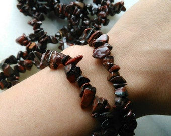 Red tigers eye chip bracelet. Your choice of cleansing! Small size.