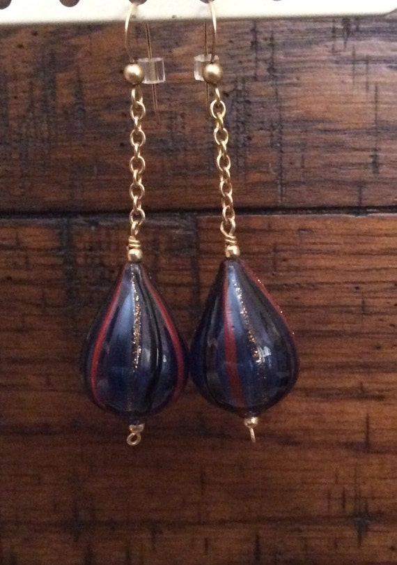 HAND BLOWN GLASS Bead Earrings with Gold Filled Components