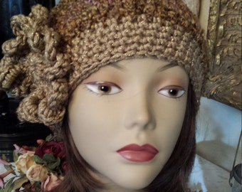 Crochet winter hat with flower made and designed by petronella