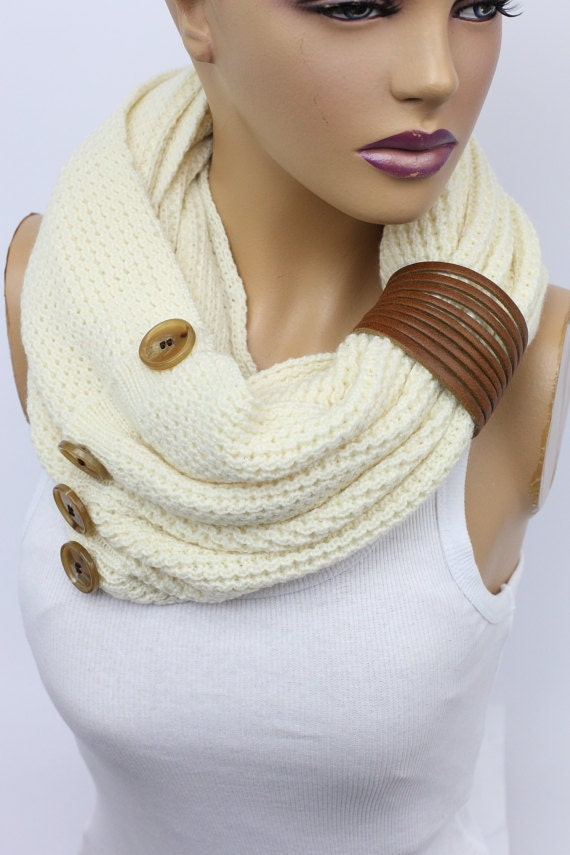 Knit button infinity scarf Leather cuffcircle scarf winter