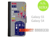 Samsung Galaxy S5 Wallet Case, Doctor Who Quote Galaxy S4 Wallet Case, Best Book Style,  FREE SHIPPING in the US