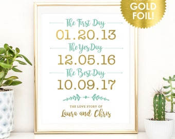 First Day, Yes Day, Best Day Wedding Signs / Gold Foil / Best Day Wedding Sign /  Reception Sign / Custom Signs / Peony Theme