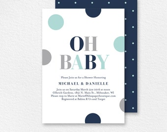 Baby Shower Invitation, Oh Baby, Baby Boy Shower, Baby Shower Invite, Baby Shower Printable, Baby Boy, PDF Instant Download #BPB94_1B