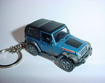 3D Jeep Wrangler Mountain custom keychain by Brian Thornton keyring key chain finished in blue color factory trim 4x4 offroad dirty truck