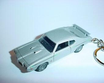 3D 1970 Pontiac GTO judge custom keychain by Brian Thornton keyring key chain finished in silver color trim diecast metal body