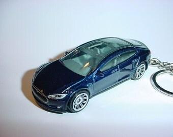 3D Tesla Model S custom keychain by Brian Thornton keyring key chain finished in deep blue trim electric car awd models