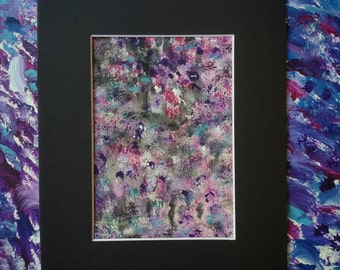 "Original Colorful Mixed Media Abstract Painting/Watercolor/Acrylic/Matted and Mounted 8""x10"
