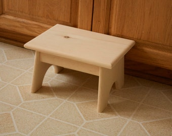 Unfinished Pine Step Stool / Foot Stool