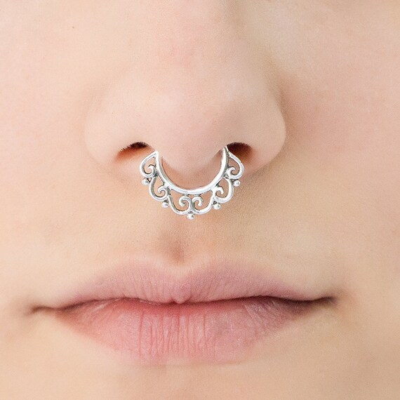 Sterling silver Septum Ring for pierced nose. septum piercing. silver septum ring. tribal septum ring. septum jewelry. septum ring 18g. rs7