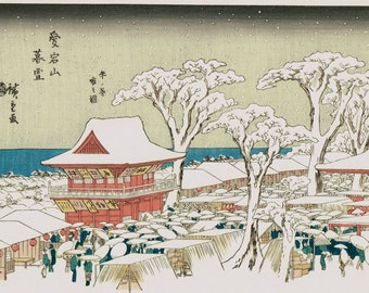 "Japanese Ukiyoe, Woodblock print, antique, Hiroshige, ""Evening snow at Atagoyama, Fair on the Last Days of Year"""