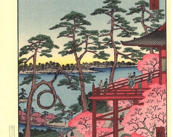 "Japanese Ukiyo-e Woodblock print, Hiroshigei, ""Kiyomizu Hall and Shinobazu Pond at Ueno"""