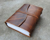 Vintage Genuine Crazy-Horse Leather Journal (Handmade) - Leather Cord Coptic Bound and leather tie closure