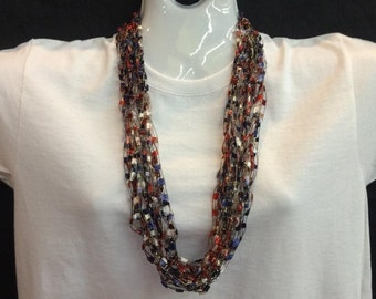Red, white, and blue crocheted ribbon necklace #92