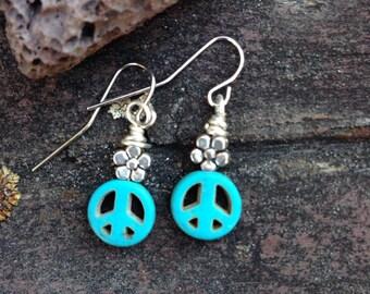 Baby Dangle Earrings Flower Power Peace Sign Boho Fashion Hippoe Chic
