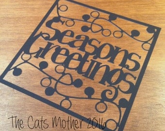 Seasons Greetings Lights Christmas Themed Paper Cutting Template - Commercial Use