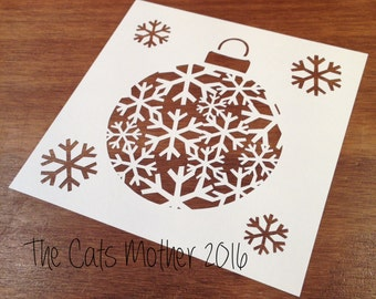 Snowflake Bauble Christmas Themed Paper Cutting Template - Commercial Use