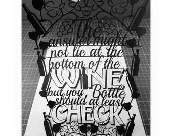 Wine themed quote template for paper cutting -Personal And Commercial Use