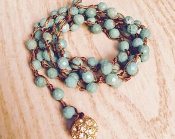 Natural stone beaded wrap around bracelet