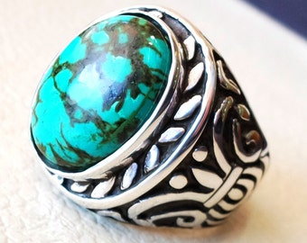 huge nishapur tibetan turquoise blue natural high quality stone men ring sterling silver 925  all  semi precious gem middle eastern style