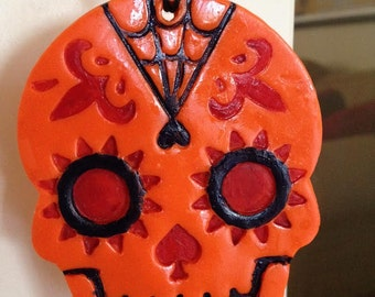 Polymer Clay Day of the Dead Skull Ornament
