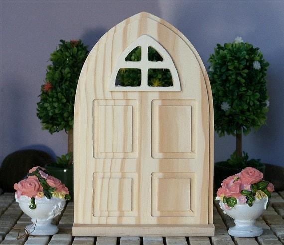 Fairy garden door wood panel window arch diy unfinished for Wooden fairy doors to decorate