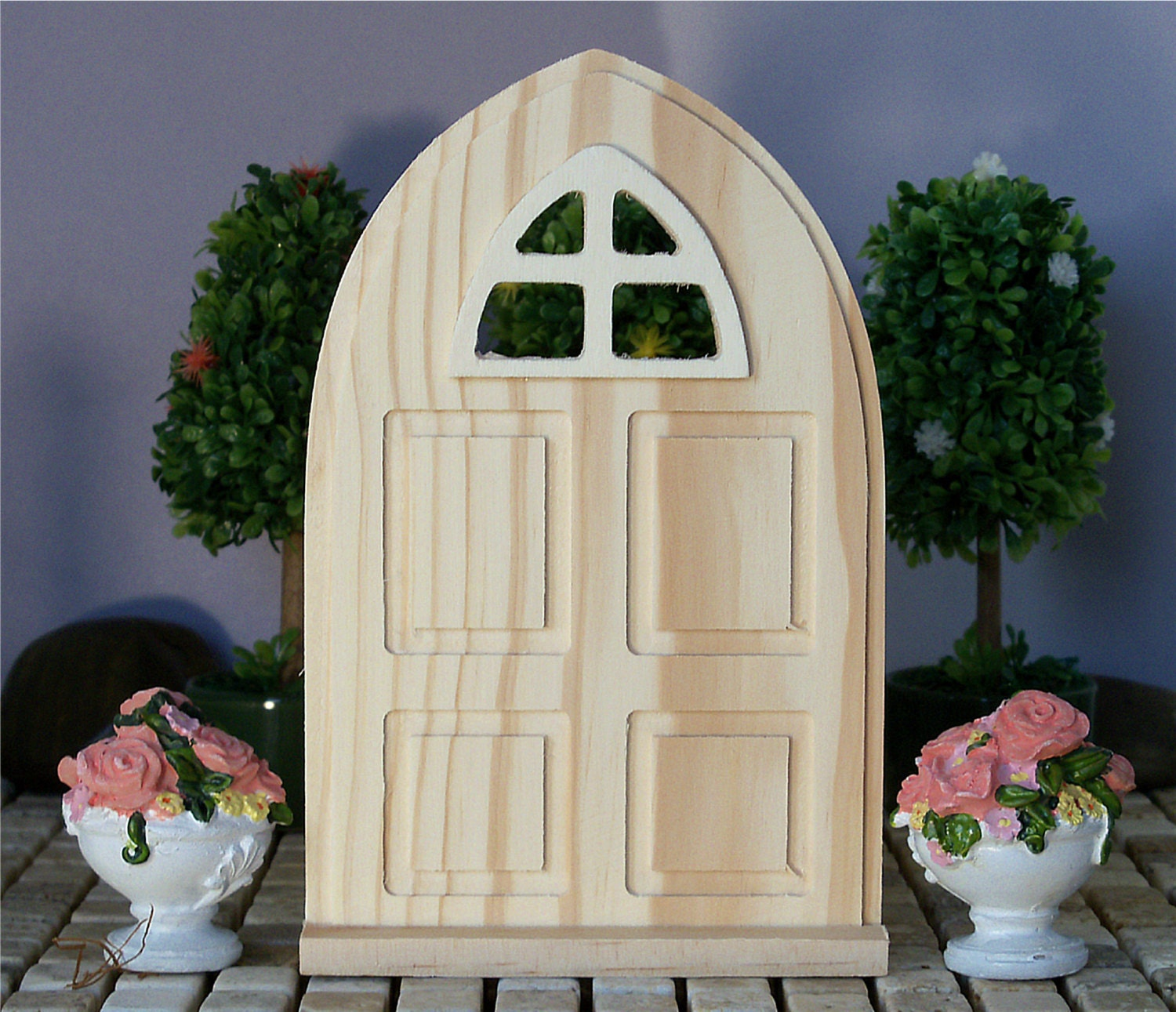 Wood Arch Decorations Ideas: Fairy Garden Door Wood Panel Window Arch DIY Unfinished