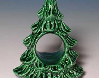 New Set of 4 Ceramic Christmas Tree Napkin Ring
