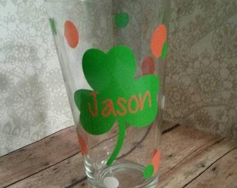 St. Patrick's day glass, personalized glass, shamrocks,  pub glass