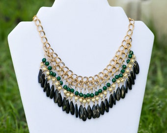 Bib Necklace, Choker Chunky Necklace, Gold Stainless Steel Chain, Boho Style Necklace, Green Tier Necklace, Black Tier Necklace