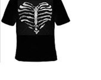 hearts skeleton bones design tee-shirt cool gift for you love