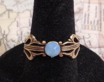 Ring, Antiqued Brass Filigree, Air Blue Opal Swarovski Flatback Crystal Adjustable