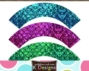 Mermaid Hologram Scales Cupcake Labels Wrappers Printable Uprint Digital DIY Instant Download