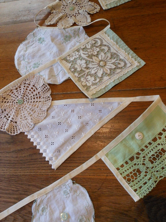 VINTAGE UNIQUE BUNTING - Shabby Chic - Hand made - Bohemian - Party Decor - Unique gifts - Wedding Garland - Vintage Party - white cotton