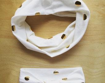 Newborn - Adult Infinity Scarf with Knotted Turban Headband