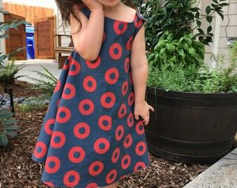Phish Dress, Fishman Donut  Dress, Reversible Pinafore Dress